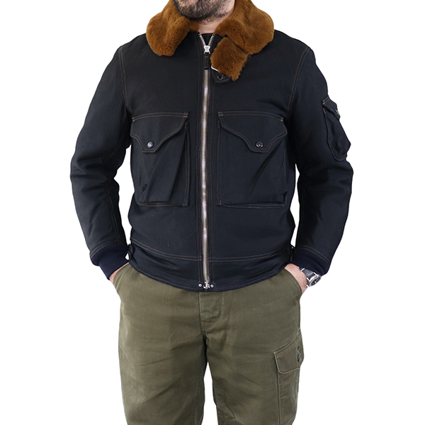 FREEWHEELERS フリーホイーラーズ S-6 AVIATOR'S JACKET WINTER FLYING JACKET UNION SPECIAL OVERALLS 1930s CIVILIAN MILITARY STYLE CLOTHING JUNGLE CLOTH PARAFFIN COATING DARK NAVY