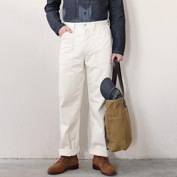 FREEWHEELERS フリーホイーラーズ LONGSHOREMAN OVERALLS EARLY 1900s - 1920s STYLE WORK CLOTHING RAW WHITE HERRINGBONE