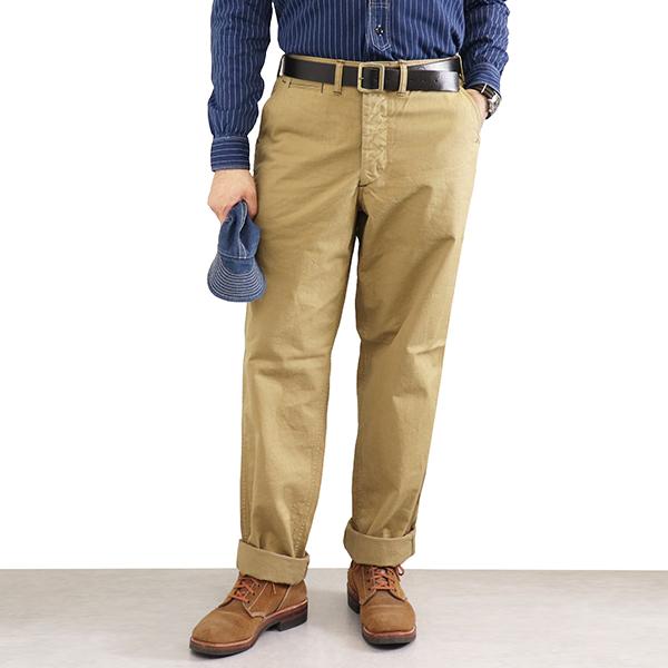 FREEWHEELERS フリーホイーラーズ ARMY OFFICER TROUSERS 1930s - 1940s CIVILIAN MILITARY STYLE CLOTHING YARN-DYED CHINO CLOTH KHAKI