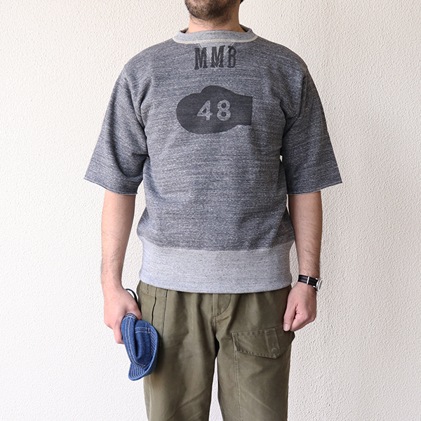 FREEWHEELERS フリーホイーラーズ MIGHTY MICK'S BOXING GYM SET-IN CUT-OFF SLEEVE SWEAT SHIRT 1940s STYLE SWEAT SHIRT GRAINED CHARCOAL GRAY