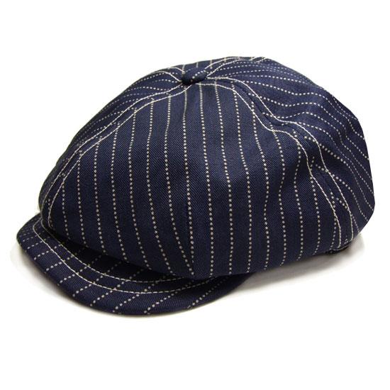 FREEWHEELERS CASSADY 4 PANELS CAP 1910 - 1920s STYLE CASQUETTE INDIGO WABASH STRIPE