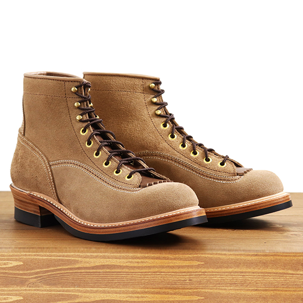 JOHN LOFGREN BOOTMAKER ジョン ロフグレン DONKEY PUNCHER LOGGER BOOTS HORWEEN LEATHER CXL NATURAL ROUGHOUT MADE IN JAPAN