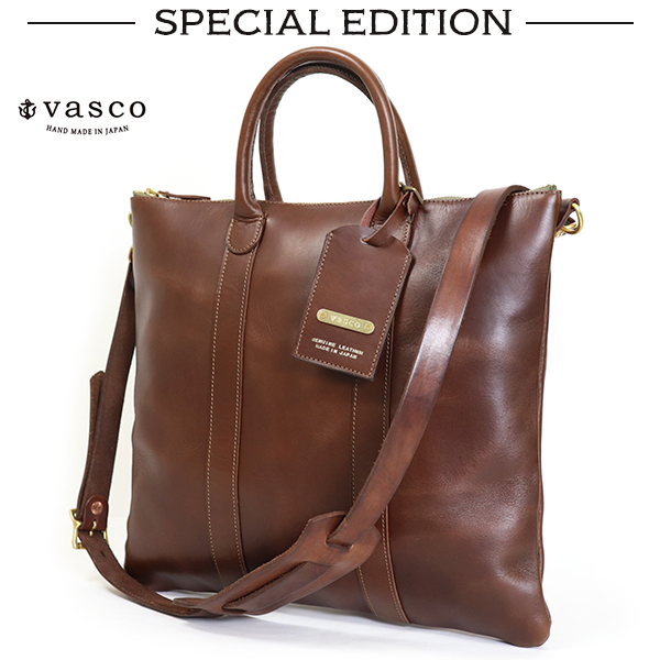 VASCO SPECIAL EDITION LEATHER HELMET BAG COW HIDE BROWN MADE IN JAPAN