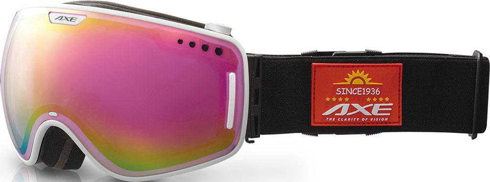 【ラッキーシール対象】AXE(アックス)スキーゴーグル・サングラスメンズ スノーゴーグル UVカットAX960ECMホワイト