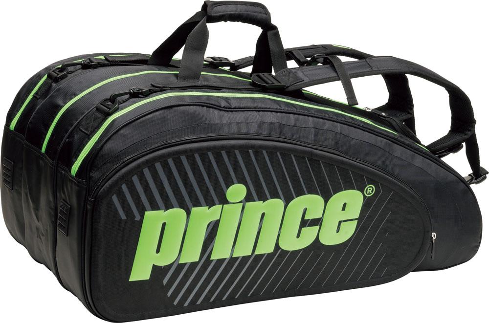 【ラッキーシール対象】Prince(プリンス)テニスバッグ【男女兼用 テニス用ラケットバッグ】 ラケットバッグ15本入TT700BLK/GRN