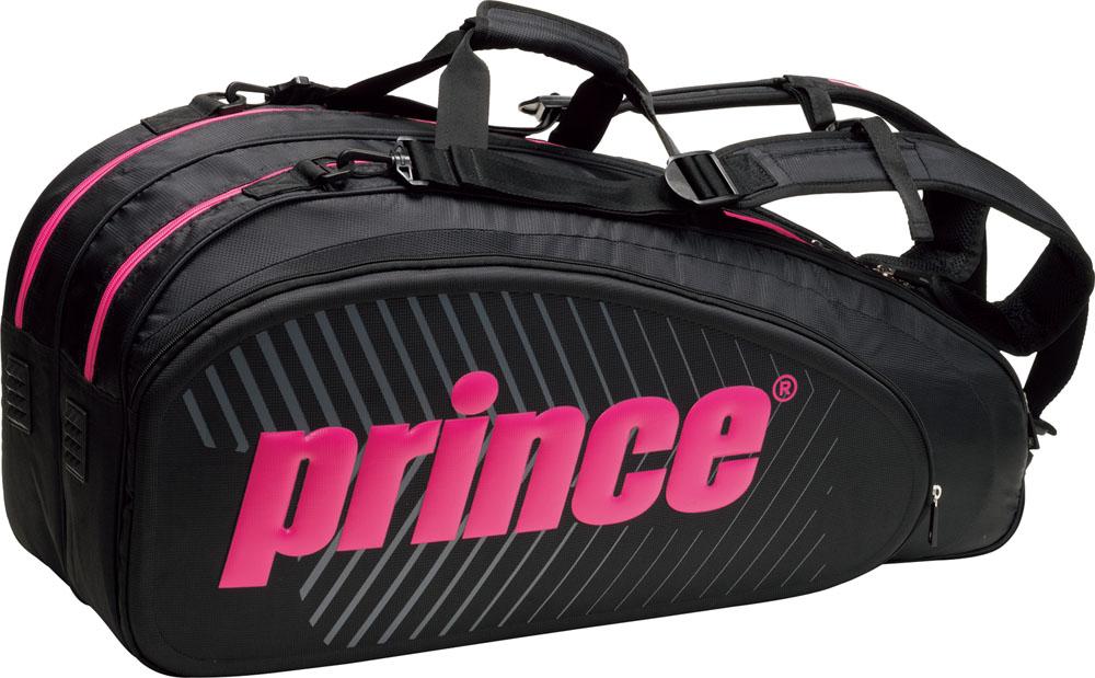 【ラッキーシール対象】Prince(プリンス)テニスバッグ【男女兼用 テニス用ラケットバッグ】 ラケットバッグ6本入TT702BLK/MGT