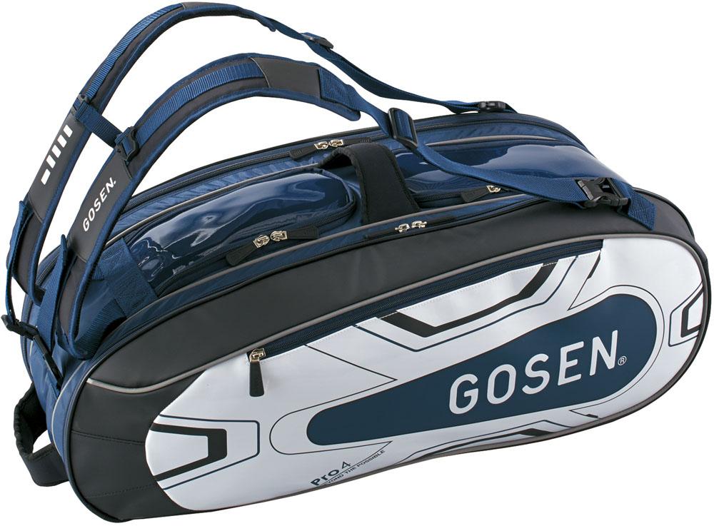 【ラッキーシール対象】GOSEN(ゴーセン)テニスバッグラケットバッグ Pro4(ラケット4本入)BA18PR4Gネイビー