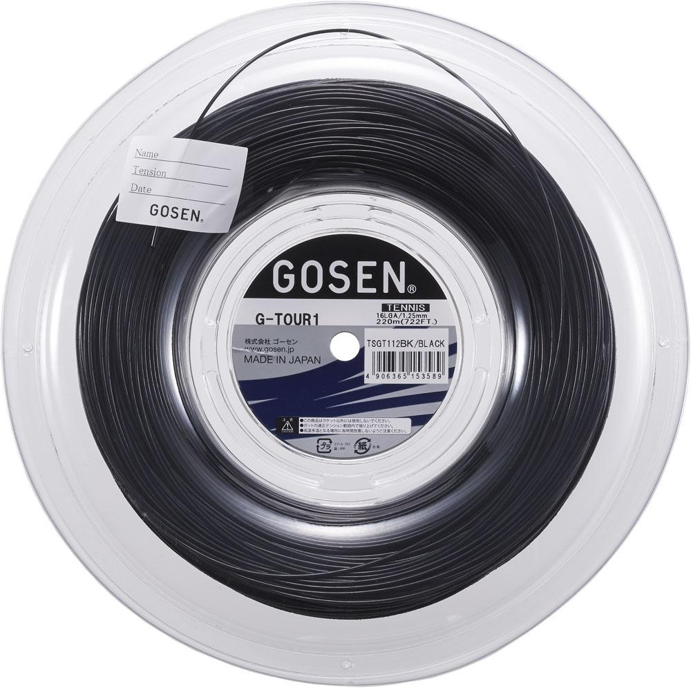 【ラッキーシール対象】 GOSEN(ゴーセン)テニスガット・ラバー(硬式テニス用ガット) ジー・ツアー・ワン 16L ブラック ロール220mTSGT112BK