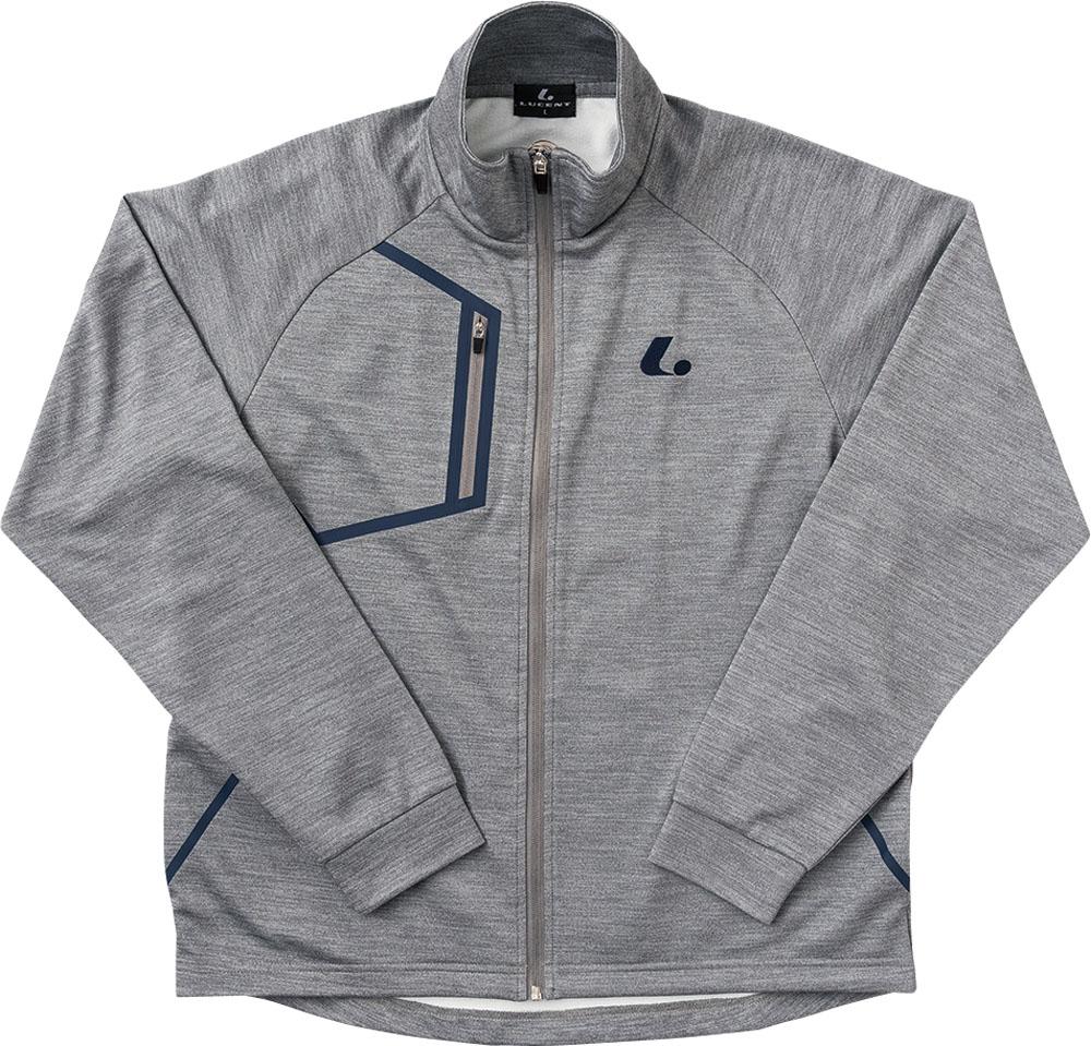 【ラッキーシール対象】LUCENT(ルーセント)テニストレーニングウェアユニセックス ウォームアップシャツ グレーモクXLW4804