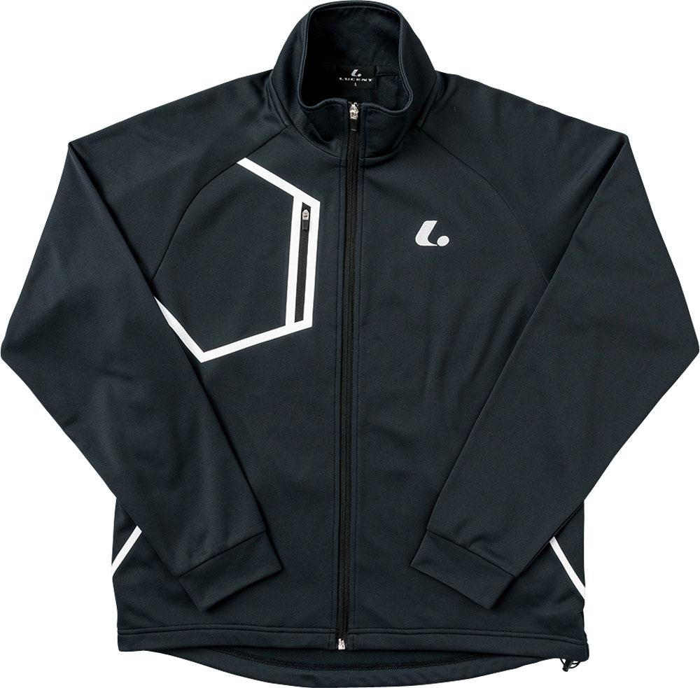 【ラッキーシール対象】LUCENT(ルーセント)テニストレーニングウェアユニセックス ウォームアップシャツ ブラックXLW4809