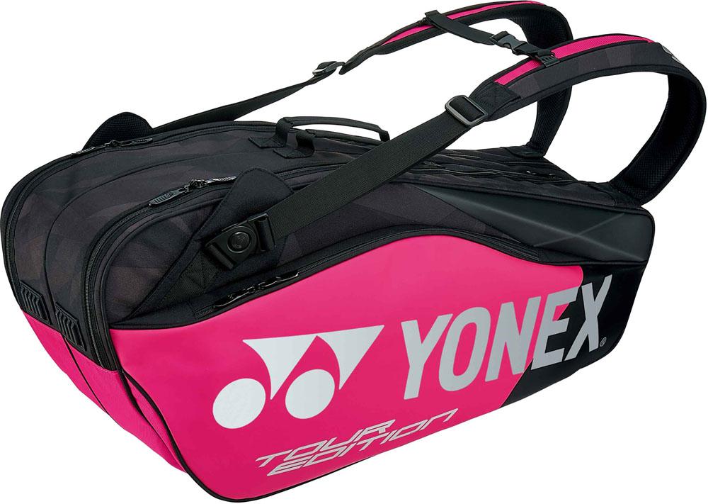 【ラッキーシール対象】Yonex(ヨネックス)テニスバッグラケットバッグ6 ラケット6本収納BAG1802Rブラック/ピンク