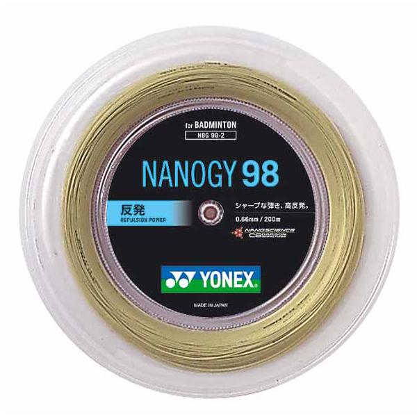【ラッキーシール対象】Yonex(ヨネックス)バドミントンガット・ラバーバドミントン用ガット ナノジー98 200mロールNBG982コスミックゴールド