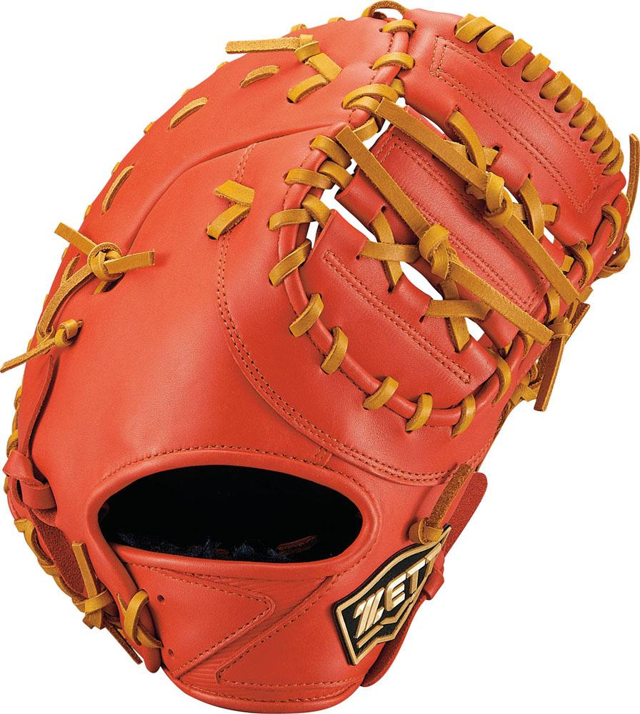 【ラッキーシール対象】 ZETT(ゼット)野球&ソフト野球グラブ少年軟式野球用 ファーストミット ゼロワンステージBJFB71913Dオレンジ/オークB