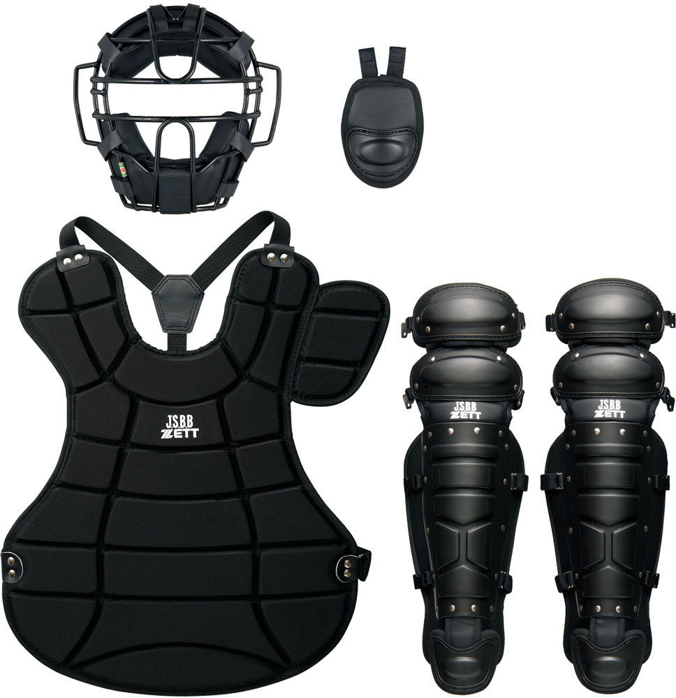 【ラッキーシール対象】 ZETT(ゼット) 野球&ソフトマスク・プロテクター 大人・中学軟式野球用 防具4点セット(SG基準対応) BL302SET ブラック