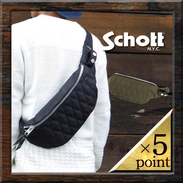 ショット【Schott】キルティングボディーバック(3169007) Men`s 2color □ NYLON PADDED BODY BAG