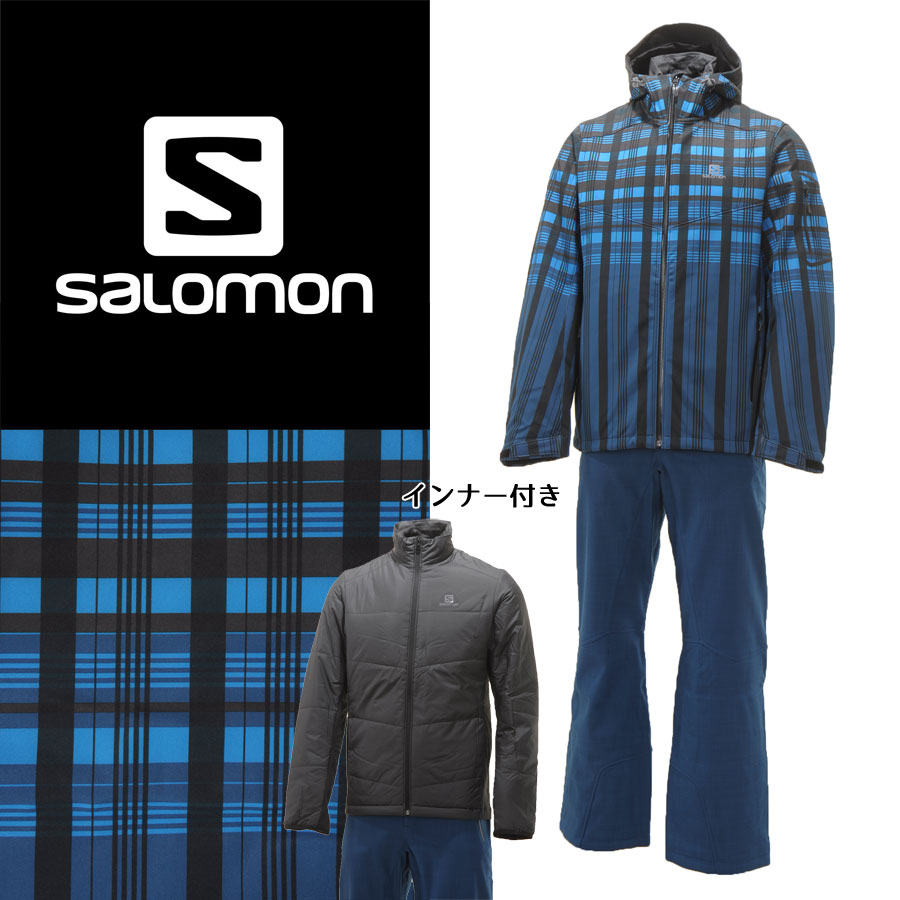 SALOMON(サロモン) L36368400/L36363600 メンズ 中綿インナー付き スキーウェア 上下セット ソフトシェル☆BLU【SALE】