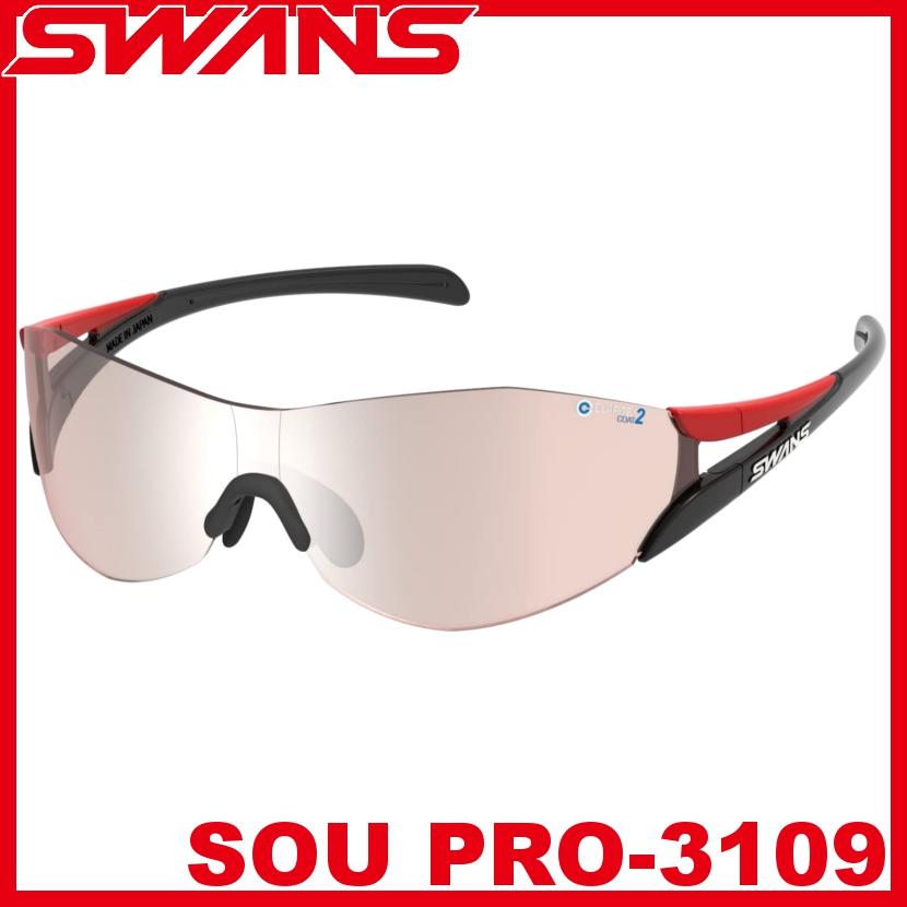 SWANS スワンズ SOU PRO-3109 R/BK レッド×ブラック スポーツ サングラス 撥水加工 ミラーレンズ ゴルフ 自転車