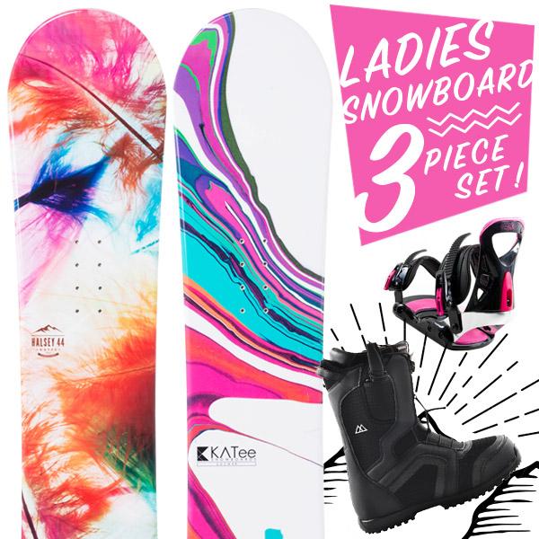 【超激烈祭】【スマホエントリーでポイント10倍2018/11/14(水) 10:00~2018/11/21(水) 9:59】スノーボード 3点セット 板 レディース HALSEY LULA 板 スノーボードブーツ スノーボードビンディング スノボ スノボー 3点 snowboard【まとめ買い相談可】