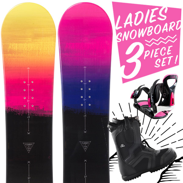 ?【超激烈祭】【スマホエントリーでポイント10倍2018/11/14(水) 10:00~2018/11/21(水) 9:59】スノーボード 3点セット 板 レディース YUMMY 板 スノーボードブーツ スノーボードビンディング スノボ スノボー 3点 snowboard【まとめ買い相談可】