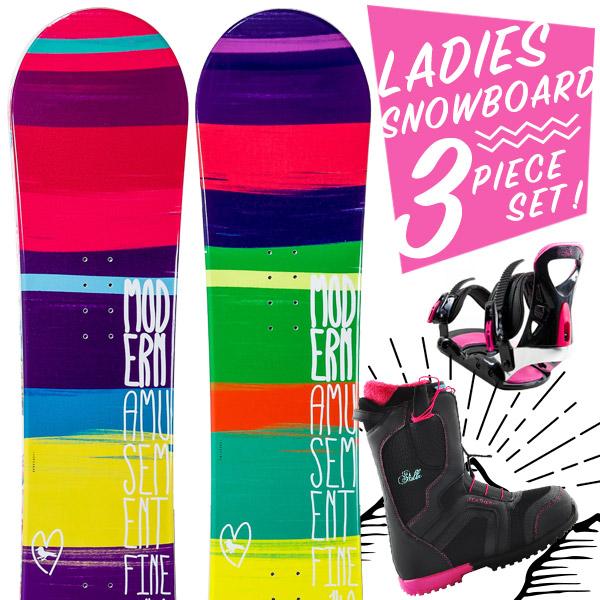 スノーボード 3点セット 板 レディース FINE ボード 板 スノーボードブーツ スノーボードビンディング スノボ スノボー 3点 snowboard【まとめ買い相談可】
