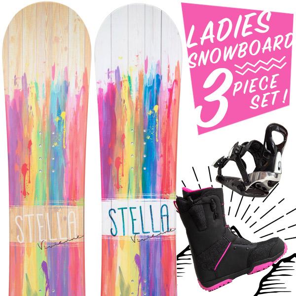 【激烈祭!2/8(金)13時~】【取付無料】スノーボード 3点セット 板 レディース VIVIENNE ボード 板 スノーボード スノボ スノボー グラトリ 3点 snowboard