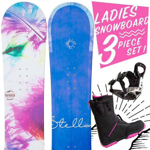 【激烈祭!2/8(金)13時~】【取付無料】スノーボード 3点セット 板 レディース FEATHER AGNES MARINA ボード 板 スノーボード スノボ スノボー グラトリ 3点 snowboard【まとめ買い相談可】