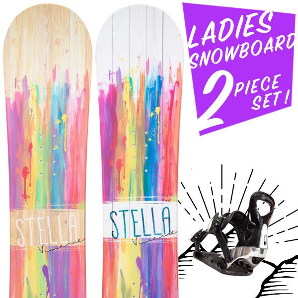【激烈祭!5/25】【取付無料】スノーボード 2点セット 板 レディース VIVIENNE ボード 板 スノーボード スノボ スノボー グラトリ 2点 snowboard【まとめ買い相談可】