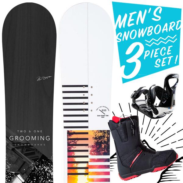 【激烈祭!2/8(金)13時~】【取付無料】スノーボード 3点セット 板 メンズ レディース AARON GROOMING ボード 板 スノーボード スノーボード スノボ スノボー グラトリ 3点 snowboard