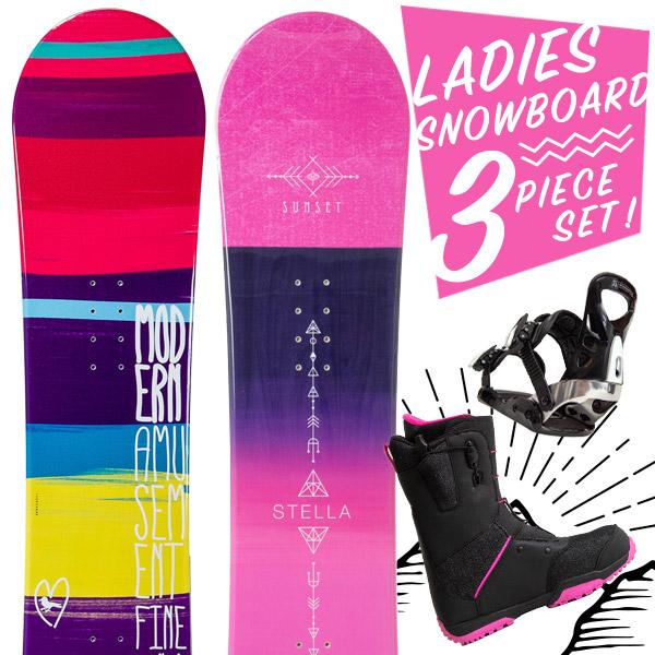 【激烈祭!2/8(金)13時~】【取付無料】スノーボード 3点セット 板 レディース FINE SUNSET ボード 板 スノーボードブーツ スノーボード スノボ スノボー グラトリ 3点 snowboard【まとめ買い相談可】