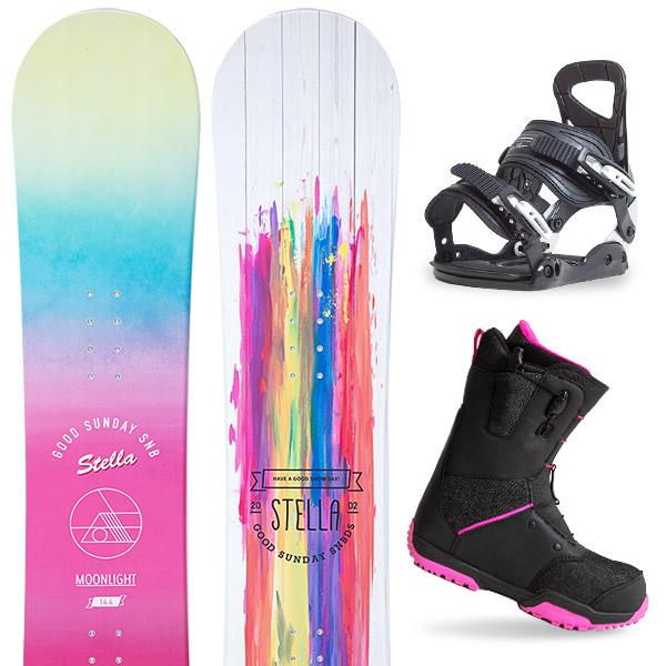 【スポイチ】【バイン取付無料】【デッキパッドプレゼント】スノーボード 3点セット 板 レディースMOONLIGHT JULIANNE 板 スノーボード スノボ スノボー グラトリ 3点snowboard ツヤ消し マットコーティング