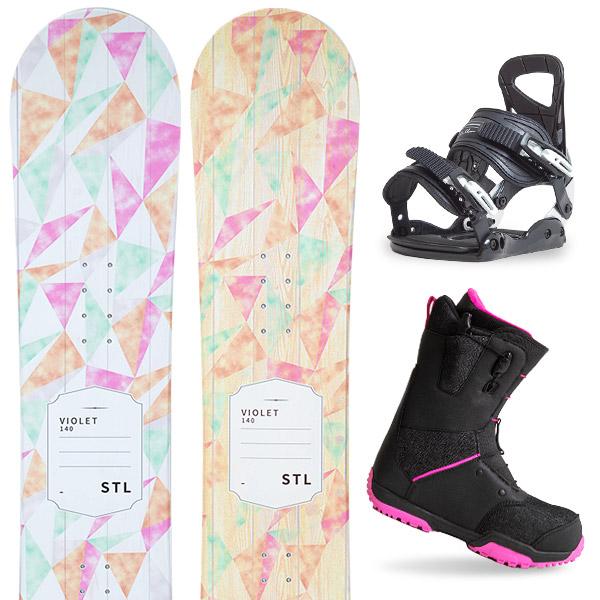 【500円クーポン】【取付無料】スノーボード 3点セット 板 レディースVIOLET 板 スノーボード スノボ スノボー グラトリ 3点snowboard ツヤ消し マットコーティング