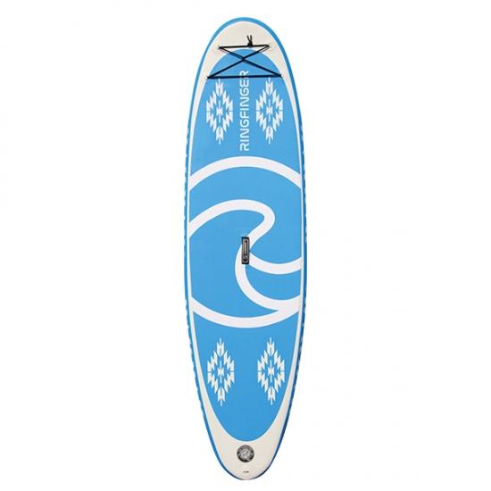 """RINGFINGER リングフィンガー 【ALLROUND 9'8""""】BLUE 水色/白 インフレータブルサップ カーボンパドル付きフルセット 折りたためて専用バックに入ります 正規品"""