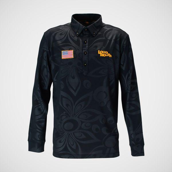 LOUDMOUTH GOLF ラウドマウス ゴルフ メンズ シャガデリック エンボス 長袖シャツ 768500 / カラー: 998 Black ブラック 18年モデル (lmnk19t)