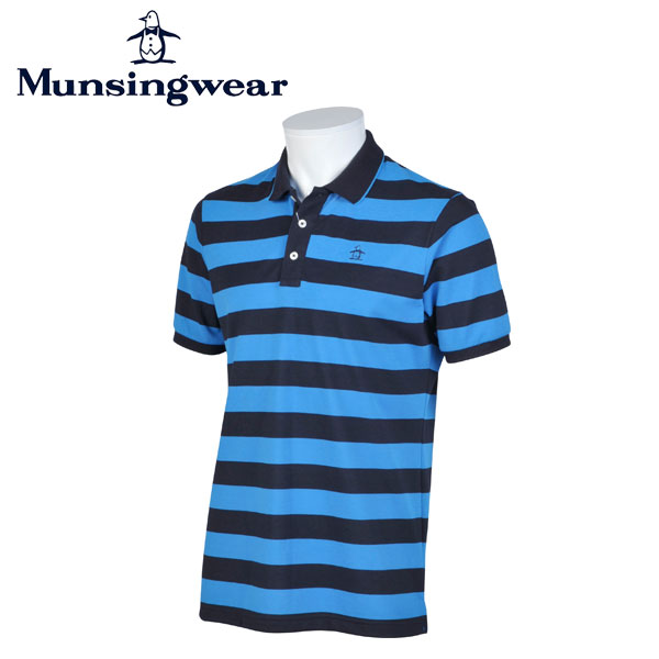 MUNSINGWEAR マンシングウェア ゴルフ メンズ 半袖 ボーダー ボタン シャツ シャツ JWMJ214 M398 ブルー 17sscz