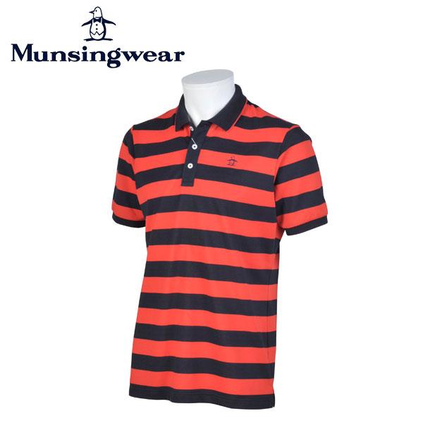 MUNSINGWEAR マンシングウェア ゴルフ メンズ 半袖 ボーダー ボタン シャツ シャツ JWMJ214 R397 レッド 17sscz