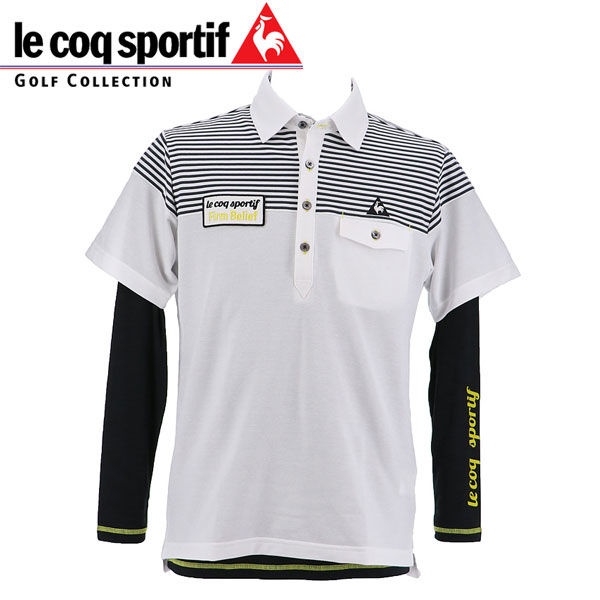 le coq sportif Golf ルコックスポルティフ ゴルフ メンズ 長袖インナー付 半袖ポロシャツ QGMMJA03W WH00 ホワイト 18fwpz