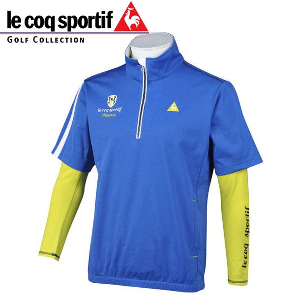 le coq sportif Golf ルコックスポルティフ ゴルフ メンズ 長袖インナー付 半袖ブルゾン QGMMJL51W BL00 ブルー 18fwpz