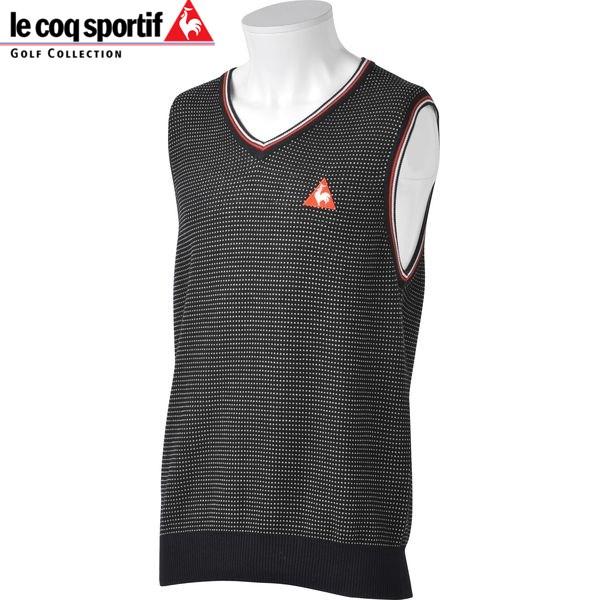 le coq sportif GOLF men golf V neck knit cotton best QG5071 color: N151 black 16sscz