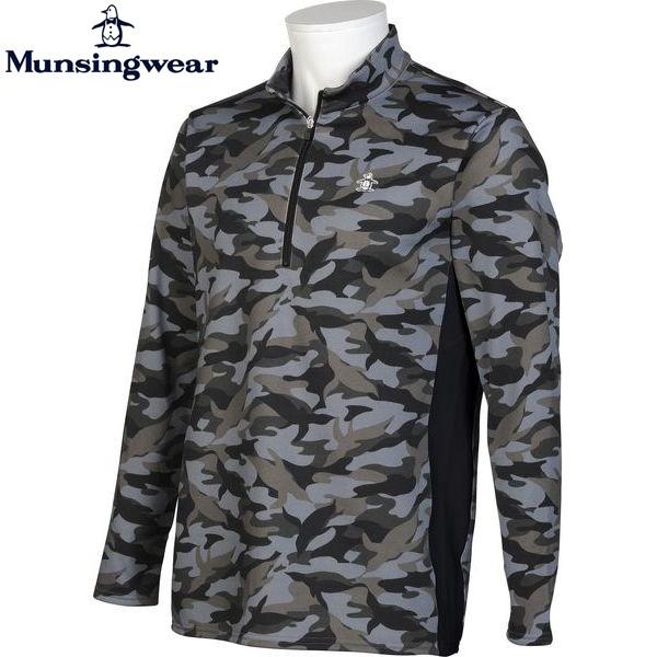 Munsingwear ゴルフ メンズ 長袖 カモフラ ハーフジップ シャツ SG1358 カラー:N150 チャコール 16fwcz