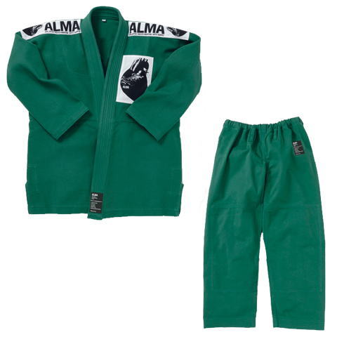 マーシャルワールド ALMA アルマ レギュラーキモノ国産柔術着 JU1 A0 緑 上下セット