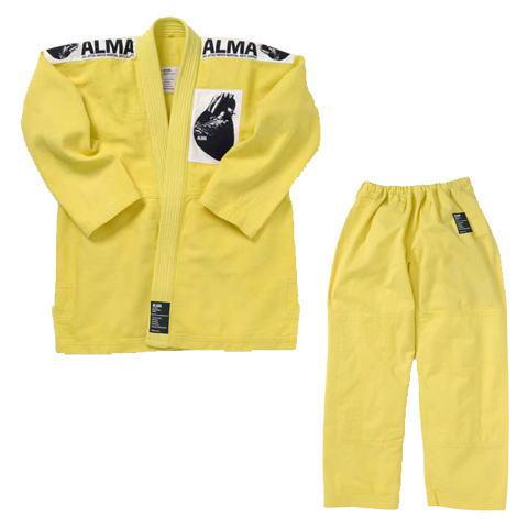 マーシャルワールド ALMA アルマ レギュラーキモノ国産柔術着 JU1 A5 黄 上下セット