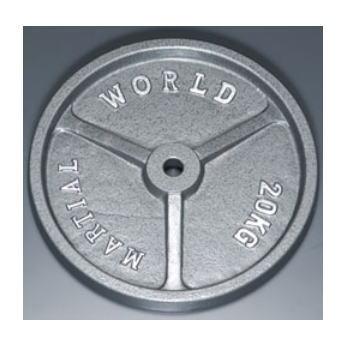 マーシャルワールド アイアンプレート穴径28mm 20.0kg P20000 バーベル/ダンベル用