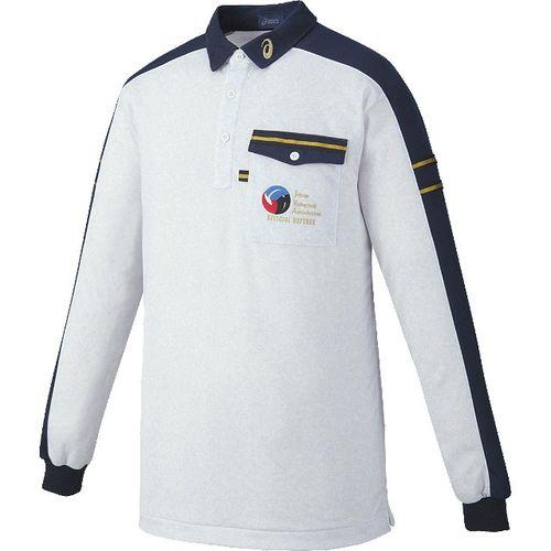 asics アシックス バレーボール レフリーシャツ長袖 XW6315 ホワイト杢/ネイビー