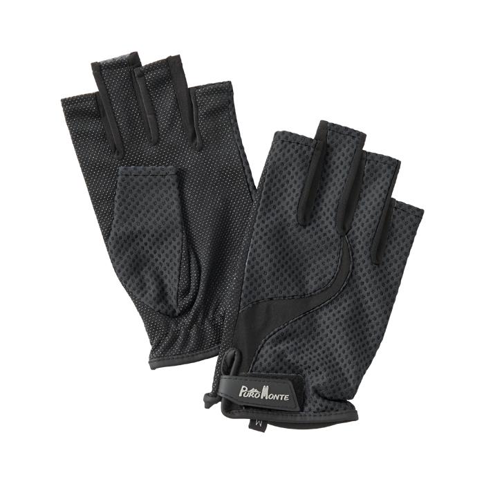登山 トレッキングに最適 紫外線から手を保護 プロモンテ PuroMonte 激安通販ショッピング メーカー在庫限り品 UVケア 手袋 トレッキンググローブ GB058U ブラック フィンガーレス