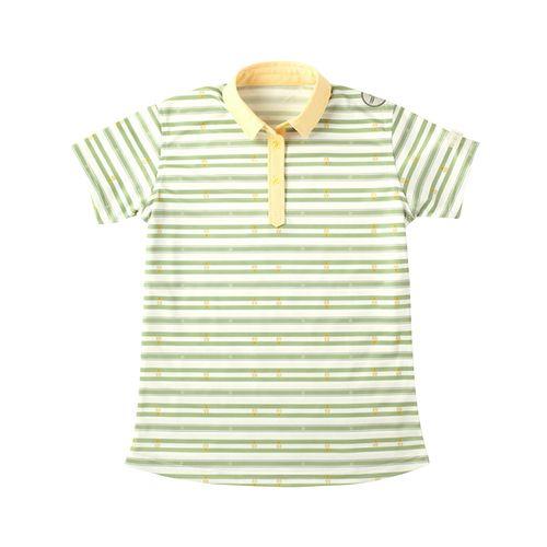 birdierush バーディーラッシュ ゴルフレディース半袖ポロシャツ BR40015 ふくろう柄グリーン 日本製