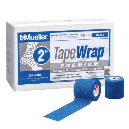 Mueller ミューラー テーピング テープラップ プレミアム50mm 24個入り 24458 自着性伸縮テープ ブルー[T]