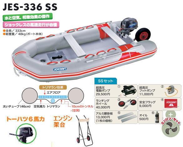 ジョイクラフト JES-336 5人乗りゴムボート トーハツ6馬力エンジン/架台/検付わくわくセレクション