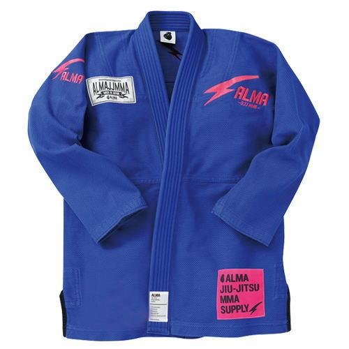 マーシャルワールド ALMA 国産柔術衣 THUNDER サンダー JU7 A0 青 上下セット