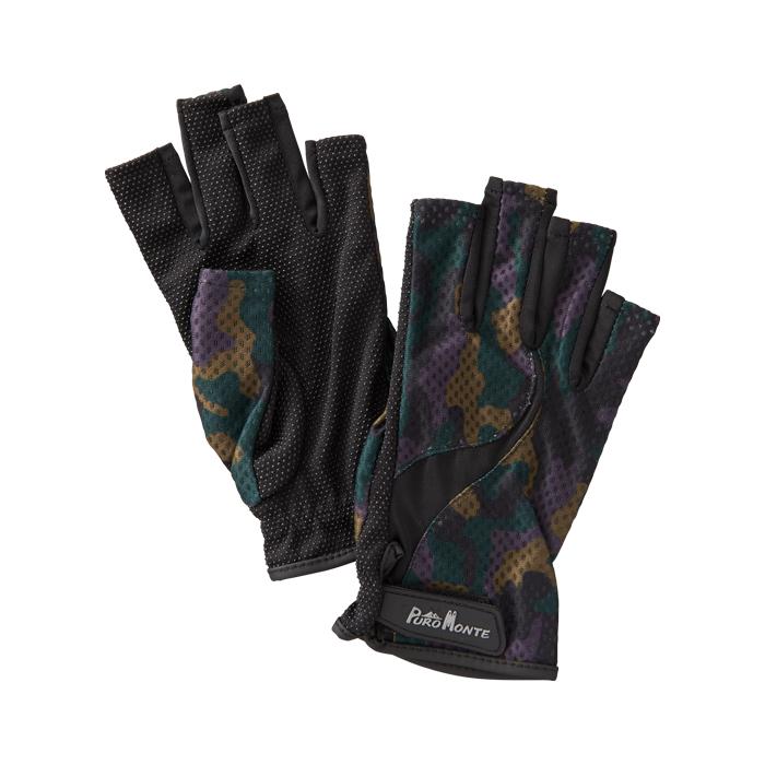 登山 トレッキングに最適 紫外線から手を保護 開店記念セール プロモンテ PuroMonte UVケア 予約販売品 フィンガーレス オリーブカモ 手袋 トレッキンググローブ GB058U