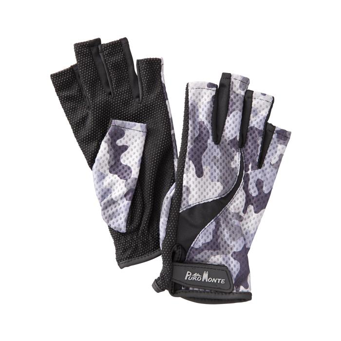 公式通販 登山 トレッキングに最適 紫外線から手を保護 プロモンテ PuroMonte UVケア 新作続 フィンガーレス ホワイトカモ GB058U 手袋 トレッキンググローブ